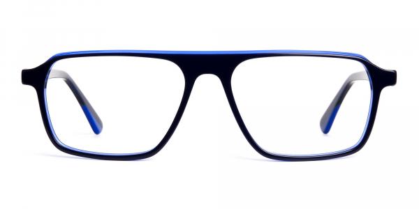 Indigo Blue Rectangular Full Rim Glasses frames