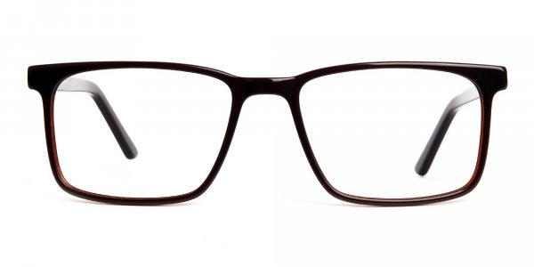 designer dark brown rectangular glasses frames