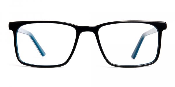 designer Black and teal rectangular glasses frames