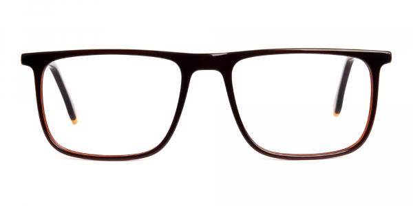 designer brown glasses rectangular shape frames