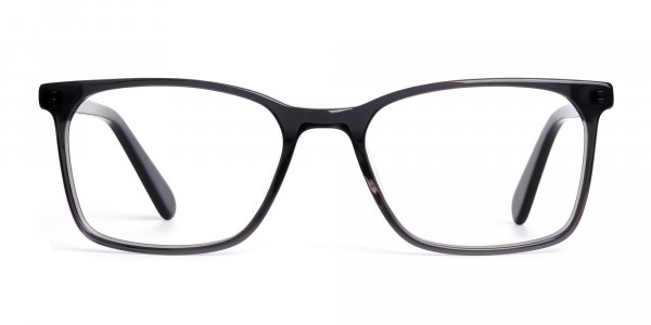 dark grey full rim rectangular glasses