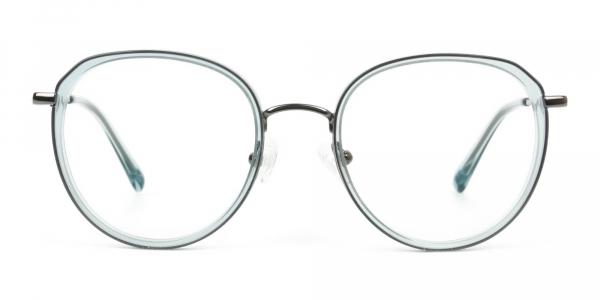 Gunmetal and Translucent Powder Blue Thick round Frame glasses