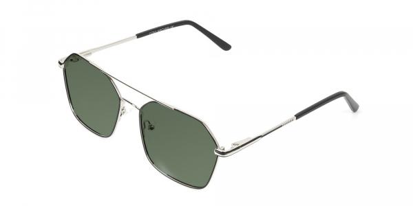 black and silver geomatric metal aviator green tinted sunglasses