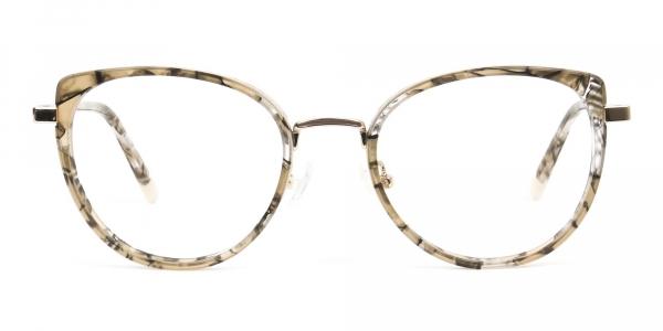 Amber Tortoise Cat-Eye Glasses in Round  - 1