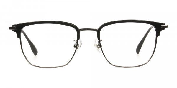 Wayfarer Browline Black & Gunmetal Large Frame Glasses
