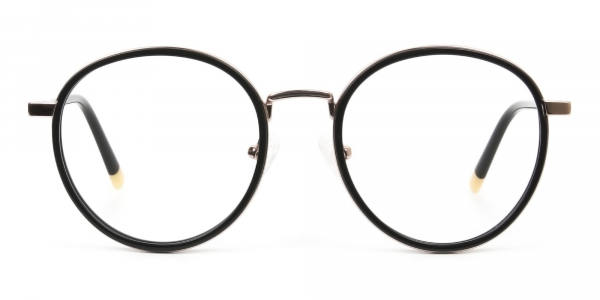 Black and Rose Gold Eyeglasses in Round