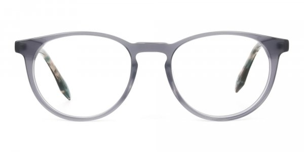 Keyhole Grey Frame Eyeglasses with Brown, Blue Tortoise Temple - 1
