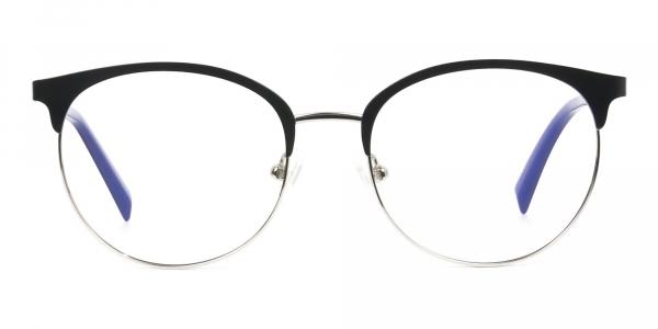 Round Navy Blue Silver Clubmaster Glasses Men Women
