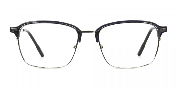 Rectangular & Browline Silver and Marble Blue Browline Glasses