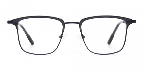 Navy Blue & Matt Black Glasses in Metal Browline & Square