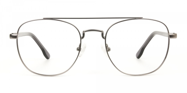 Gunmetal Dark Grey Aviator Wayfarer Glasses