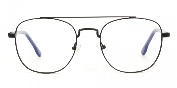 Black Aviator Wayfarer Glasses with Navy Blue Temple