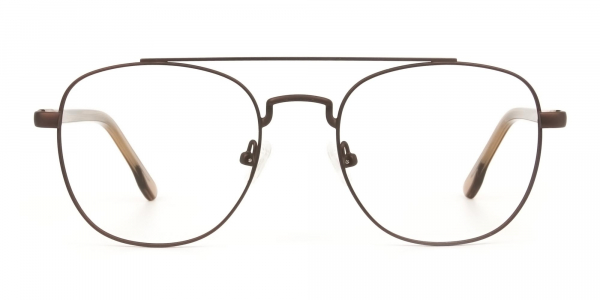 Honey Brown Aviator Wayfarer Glasses in Metal - 1