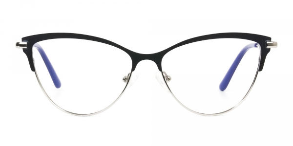Navy Blue and Silver Metal Cat Eye Glasses