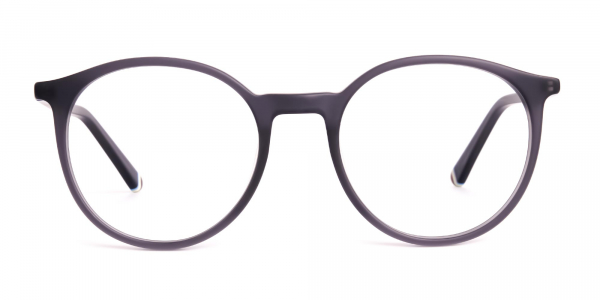 matte and dark grey round full rim glasses frames