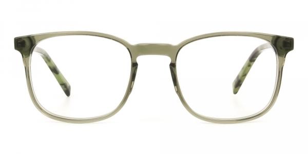 Translucent Camouflage & Olive Green Square Glasses