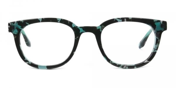 Hipster Tortoise Turquoise Green Wayfarer Frame Glasses
