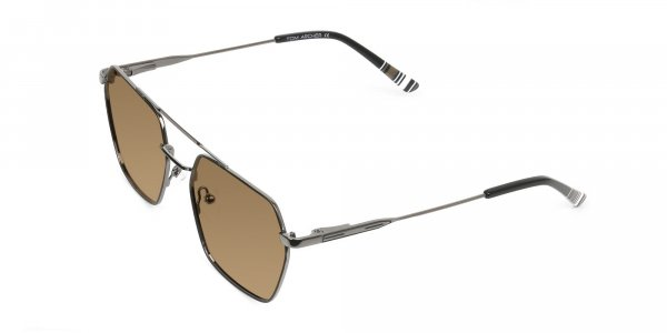 gunmetal black geometric dark brown tinted aviator sunglasses