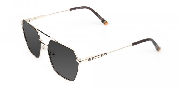 gold gunmetal dark grey tinted geometric aviator sunglasses frames