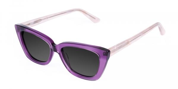 Purple Cat Eye Sunglasses in Grey Tint