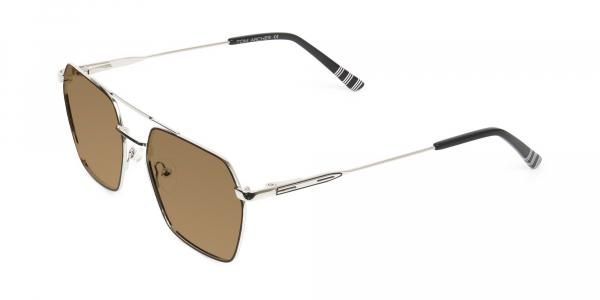 black silver metal geometric brown tinted sunglasses