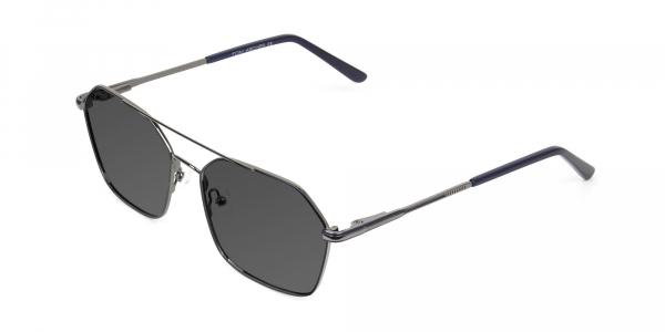 dark royal blue geometric  gunmetal aviator grey tinted sunglasses