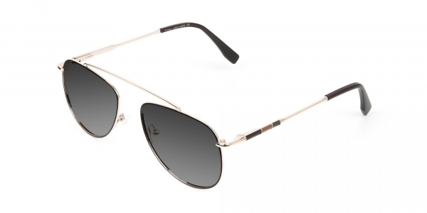gold brown thin metal grey tinted aviator sunglasses