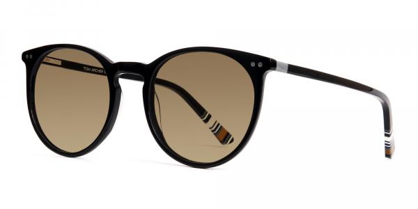 black round designer brown tinted sunglasses frames