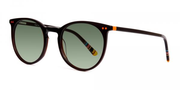 dark brown round green tinted sunglasses frames