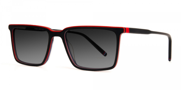 black and red rectangular grey tinted sunglasses frames