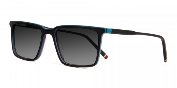 black and teal rectangular full rim grey tinted sunglasses frames