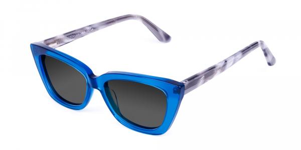 Blue Cat Eye Sunglasses with Grey Tint
