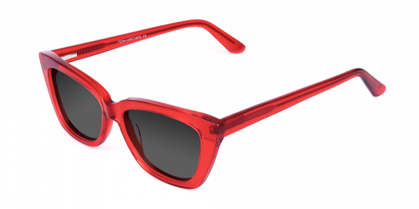 Red Big Cat Eye Sunglasses with Grey Tint