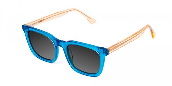 Blue Wayfarer Sunglasses with Grey Tint