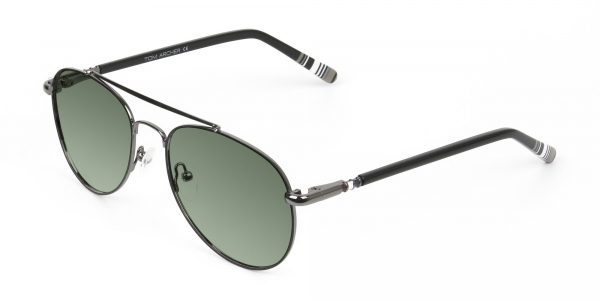 gunmetal black and green tinted full rim aviator sunglasses frames
