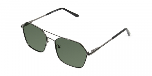 black geometric aviator green tinted sunglasses frames
