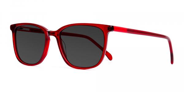 wine red wayfarer and rectangular grey tinted sunglasses frames
