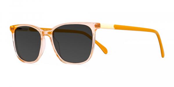 transparent orange wayfarer and rectangular dark grey tinted sunglasses frames