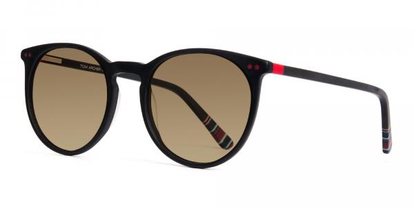matte black designer round brown tinted sunglasses frames