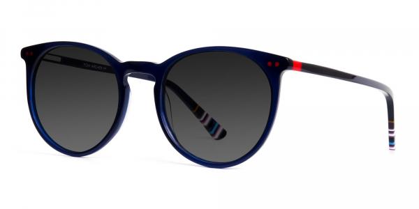 bright indigo blue designer grey tinted sunglasses frames