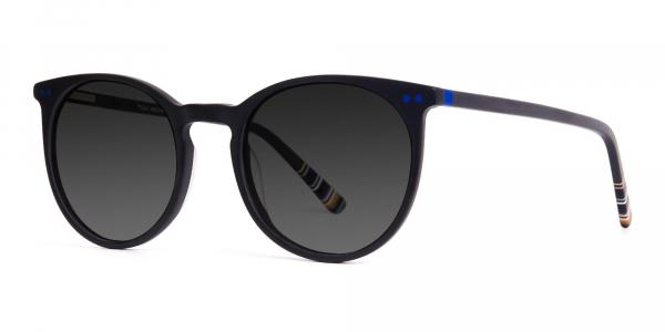 matte black designer indigo blue grey tinted sunglasses frame