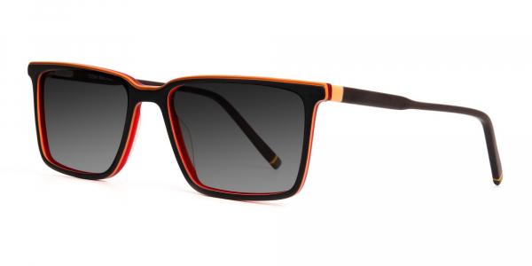 black and orange rectangular full rim grey tinted sunglasses frames