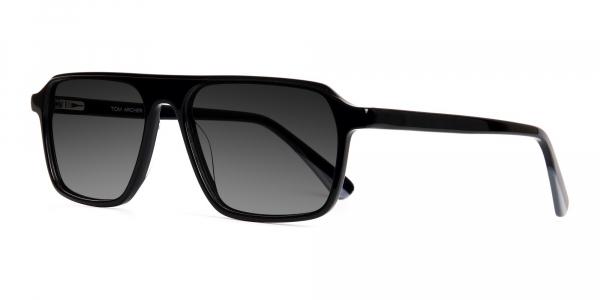 black rectangular full rim grey tinted sunglasses frames
