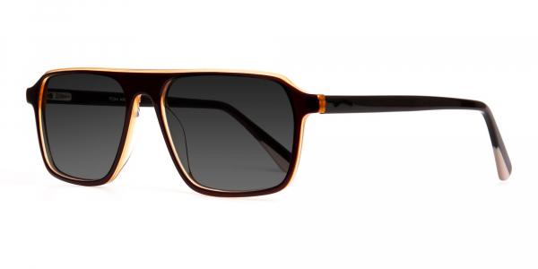 dark brown rectangular full rim dark grey tinted sunglasses frames