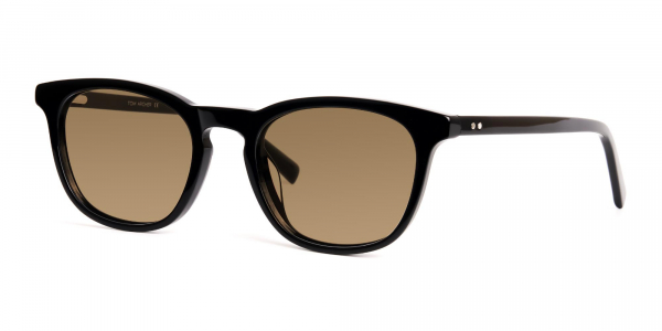 black thick wayfarer dark brown tinted sunglasses frames