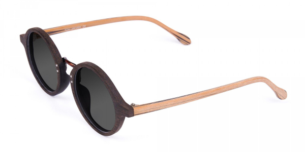 Brown Wood Frame Sunglasses with Grey Tint
