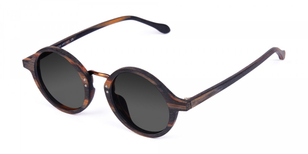 Wooden Tortoise Round Sunglasses with Grey Tint