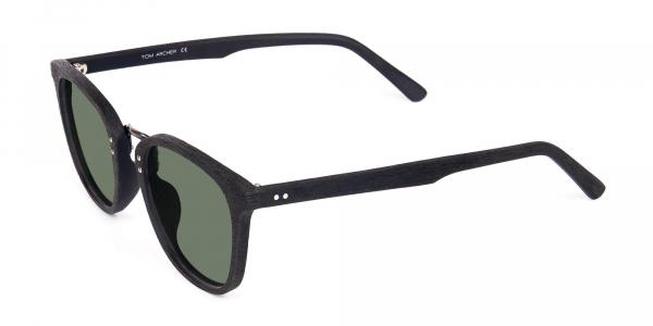 Green Tint Square Shape Black Wooden Sunglasses