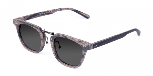 Wooden Grey Frame and Tint Chunky Square Sunglasses
