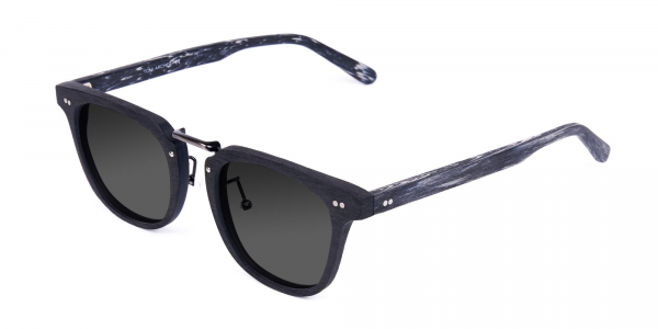 Wooden Black Square Frame Sunglasses with Green Tint
